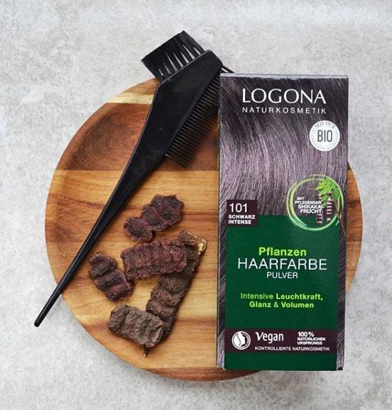 LOGONA rostlinná Barva na vlasy 101 Intenzivní černá 100 gr.